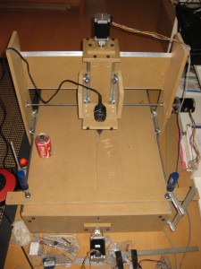 CNC router assembled. Coke can for size.